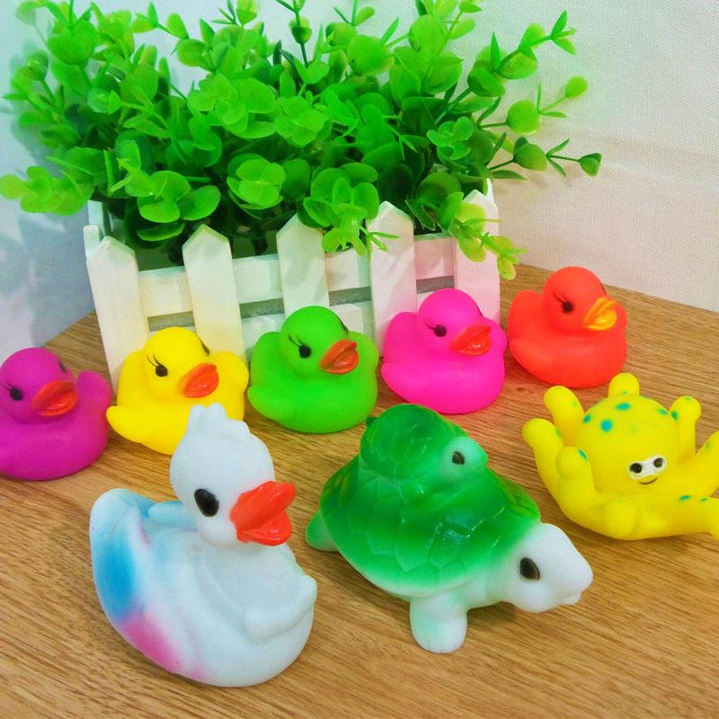 2018 Creative Color Duck/Tortoise/Squid Rubber Toys Baby Bathing ...