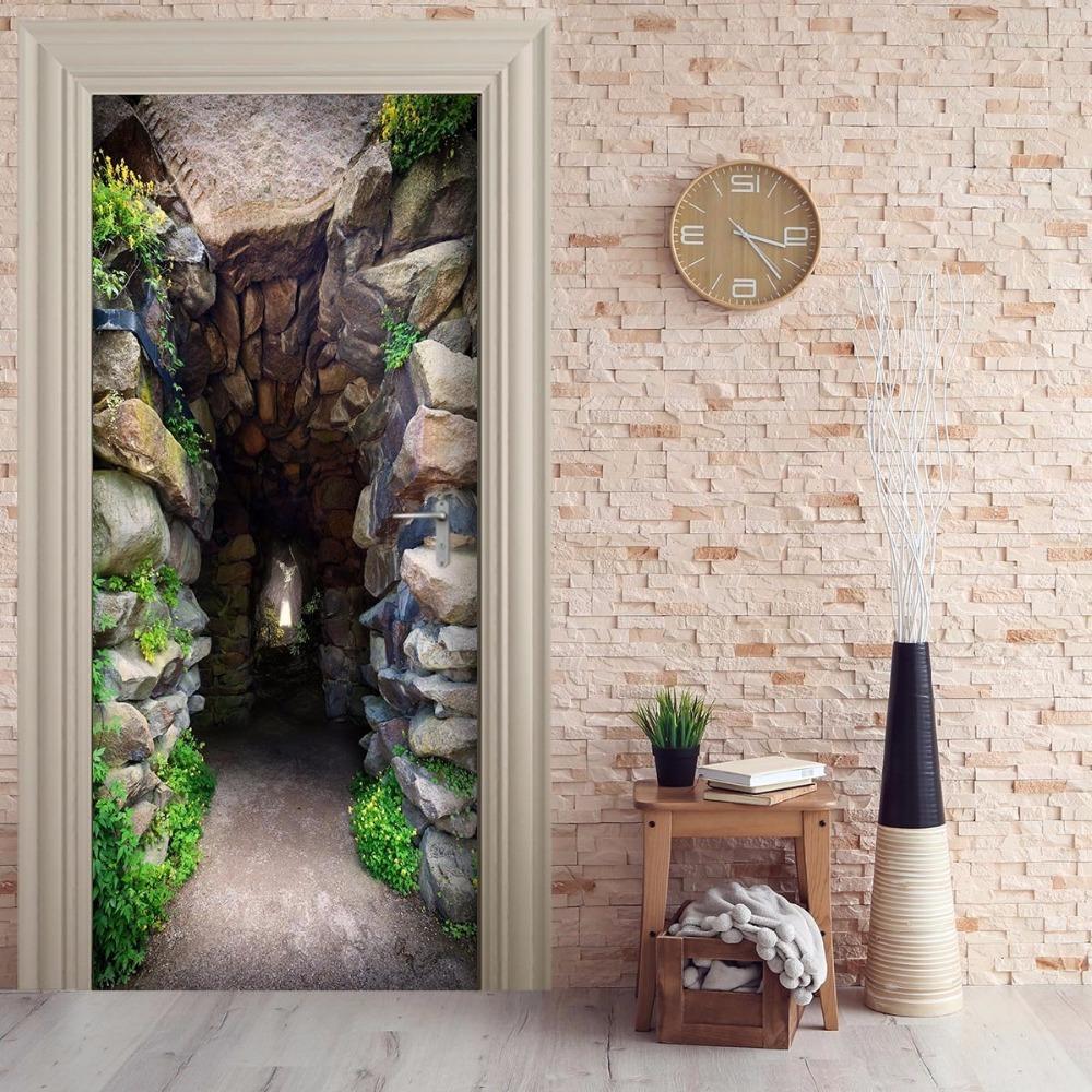 Großhandel Kostenloser Versand 3d Moutain Höhle Tür Wandaufkleber ...