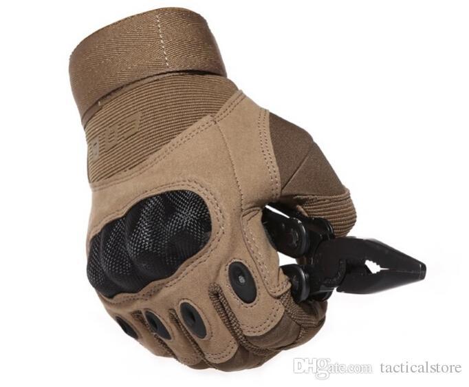 US Army Tactical Outdoor Sports Vollfinger Kampf Airsoft Handschuhe Motorrad Rennrutsch Rutschfester Kohlefaser Schildpatt Sand