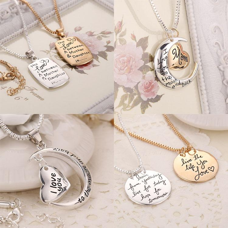 5 styles mixed i love you to the moon and back heart pendant heart 5 styles mixed i love you to the moon and back heart pendant heart letter necklace mother necklace pendant necklaces online with 16piece on mozeypictures Images