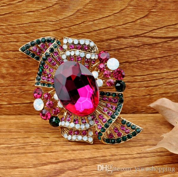"""3"""" Gold Plated Multicolored Rhinstone Crystal Diamante Large Bridal Brooch Gift Pins for Wedding Bouquet or Party Gift"""