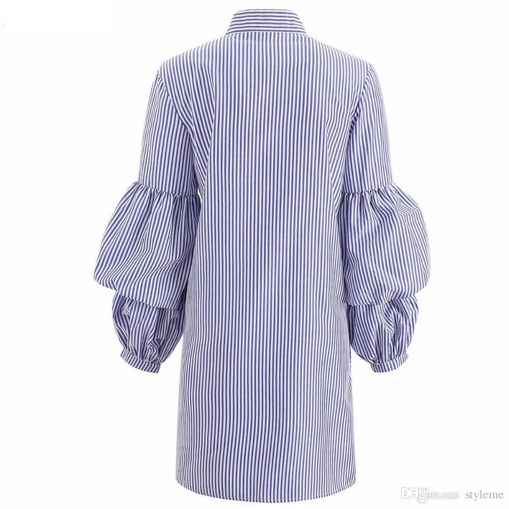 Damen Blau Gestreiftes Hemd Kleider 2018 Frühling Herbst Frauen Vintage Stehkragen Schößchen Ärmel Tuniken Büro Dame Arbeitskleid Plus Größe 2XL 3XL