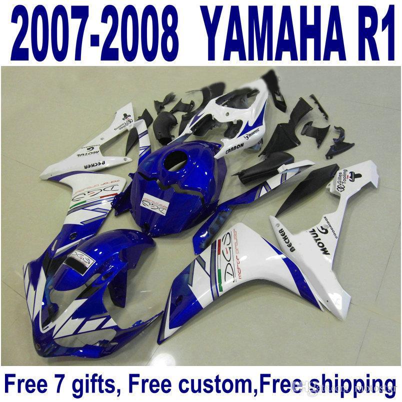 Lowest price bodywork sets for YAMAHA YZF R1 fairings 2007 2008 blue white  black plastic fairing kit YZF-R1 07 08 ER66