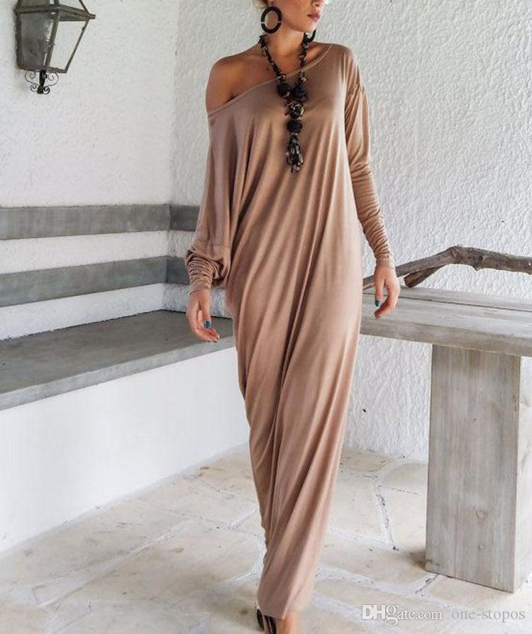 2016 дешевые Новая весна осень женщины макси платья с длинными рукавами нерегулярные плюс размер негабаритных свободные Wrap Dress дамы повседневная Dress OXL15092107