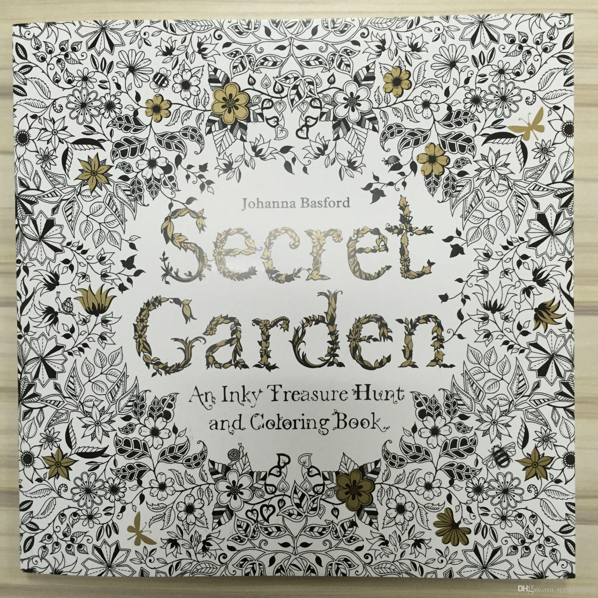 Secret Garden Colouring Book An Inky Treasure Hunt For Adult Kids Creative Therapy Doodling Drawing Books Adhesive Binding DHL