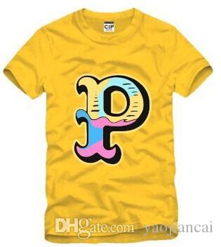 Pembe Yunus Kanye West erkek Hip Hop t gömlek Pembe + Yunus Erkekler Hood Hava Tee Gömlek Pamuk tshirt Adam Marka Giyim