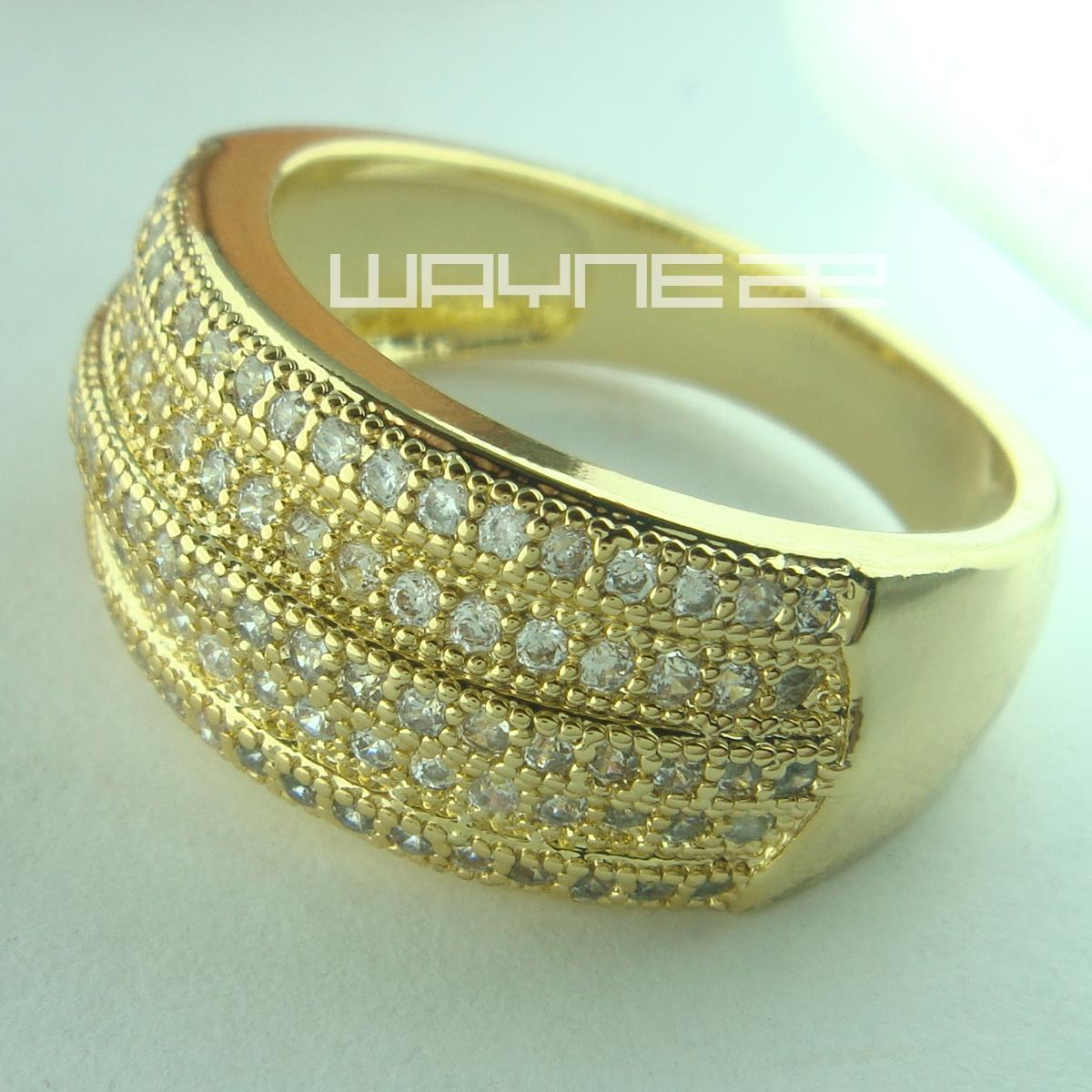 2e59ddb378eec 18ct gold GF engagement wedding womens solid ring R155 band size8-9