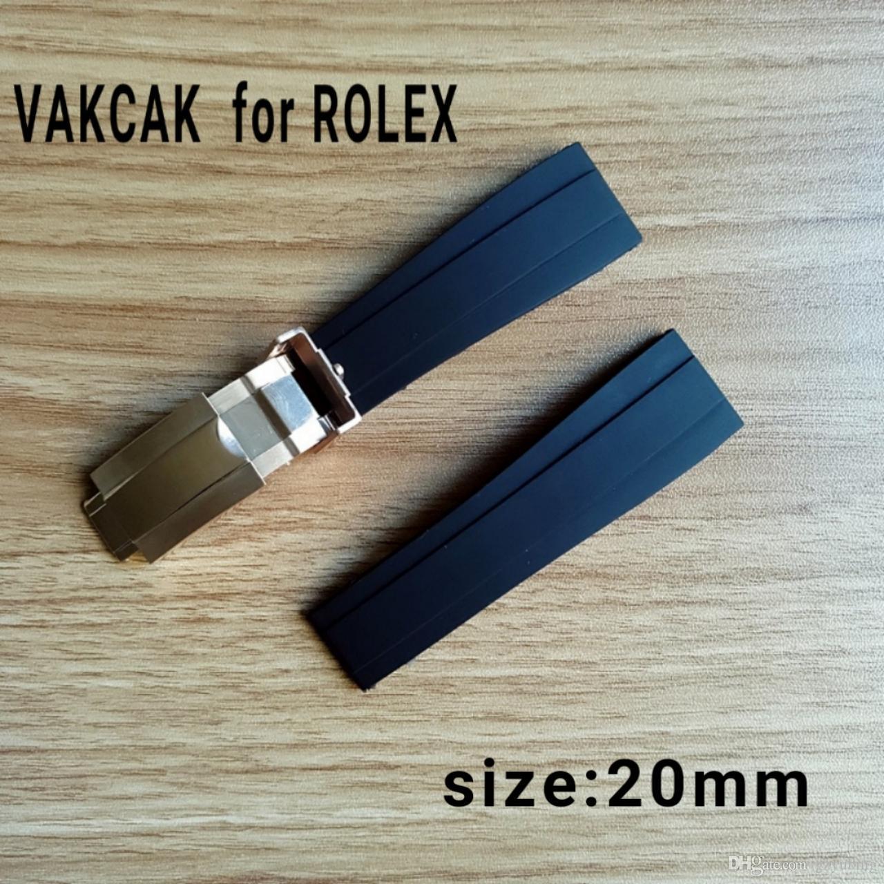 Correa de tamaño 20 mm apta para ROLEX SUB / GMT / YM. Nuevo y suave accesorio de reloj de banda impermeable y resistente con cierre de acero original plateado.