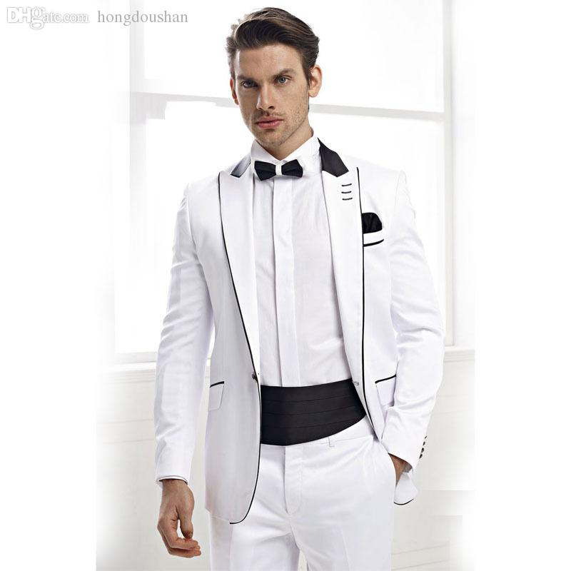 2018 Wholesale White Wedding Tuxedos For Men Grooms Wear Best Man