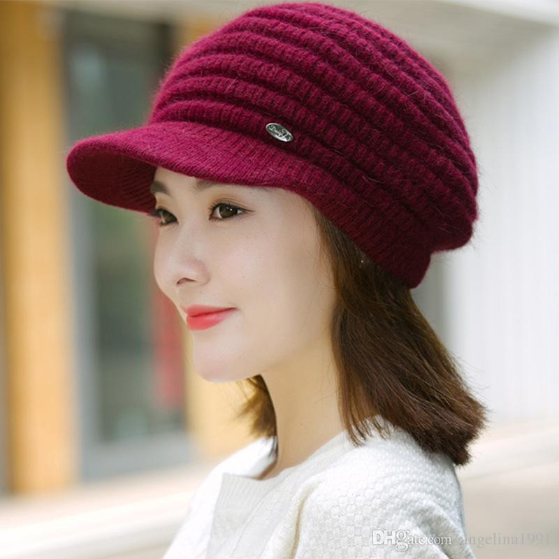 84f0f33fe78 Fashion Women S Winter Hats Women S Beanies Thicken Knitted Wool Thermal  Bunny Rabbit Casual Earmuffs Gorros Caps Bucket Hats Beanie From  Angelina1991