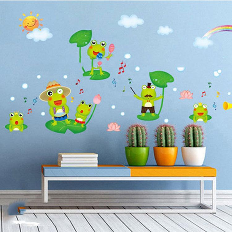 Cartoon Frog Singing In The Pool Wall Art Mural Decor