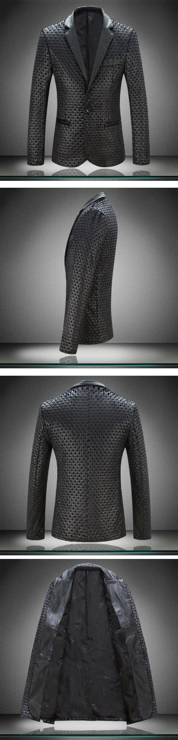Herren Pu Leder Pelz Blazer Plus Größe M-4XL Modedesigner Schwarz Party Männer Slim Fit Blazer Homme Outdoor Mantel C1979