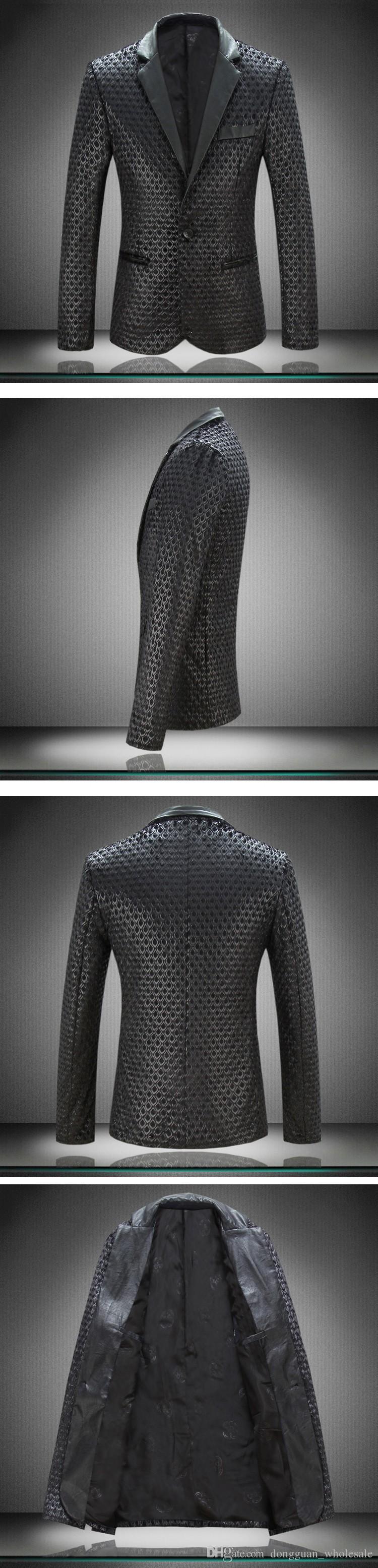 Mens Pu Leather Fur Blazer Plus Size M-4XL Diseñador de moda Negro Party Men Slim Fit Blazer Homme abrigo al aire libre C1979