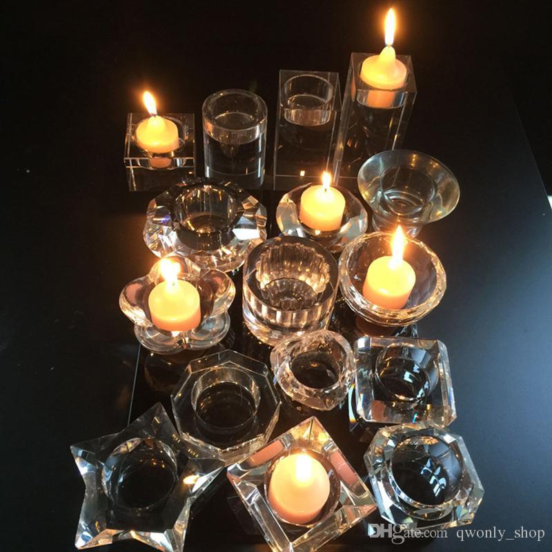 Religieux Cristal Clair Bougeoirs Petit Photophore Chandelier 6 cm 10 cm 14 cm Décorations de Mariage Dîners Bureau Table Centres