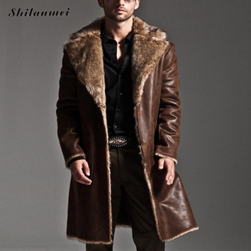 Wholesale New Fashion Men Winter Fur Leather Jacket Long Coats Both