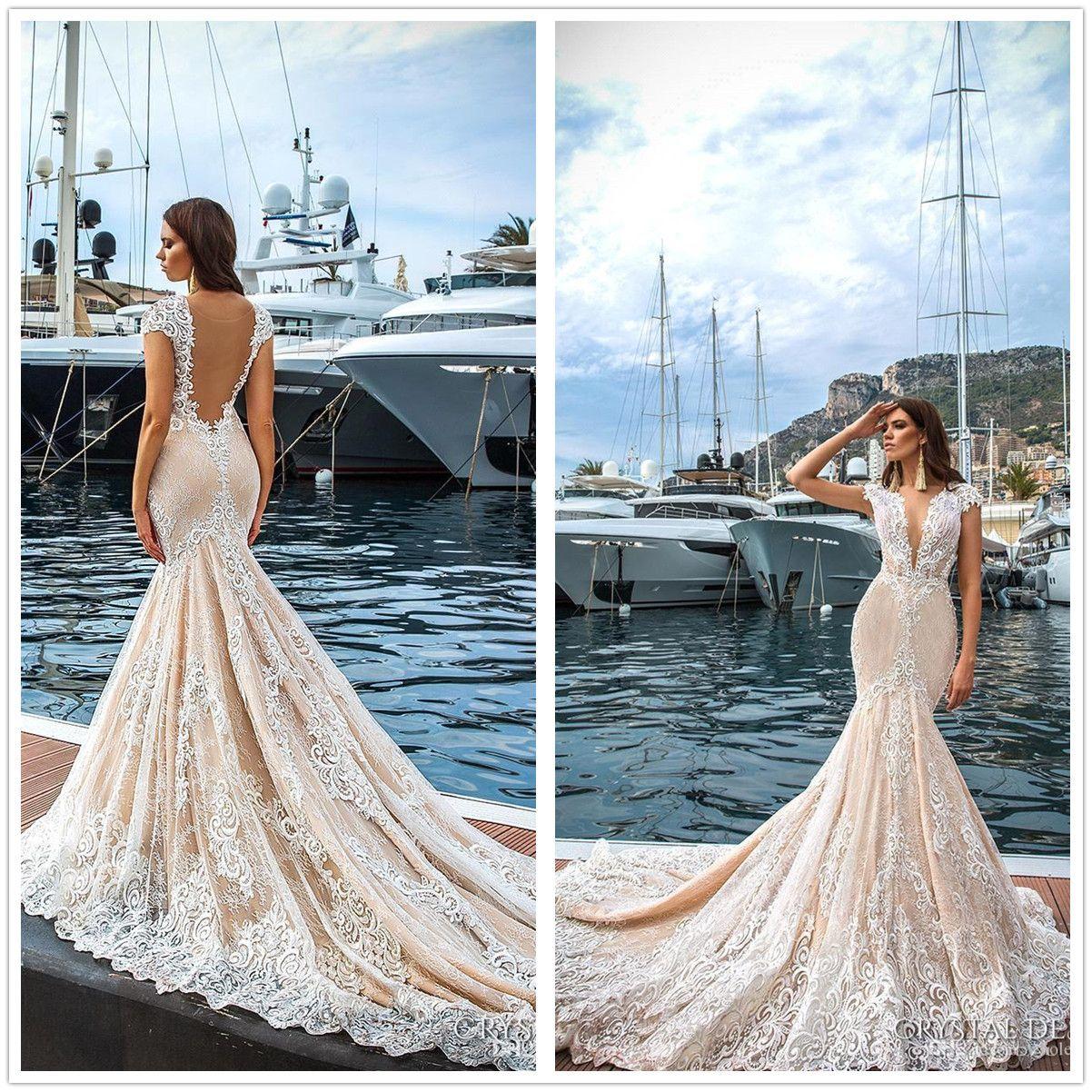 Lace Mermaid Wedding Dresses 2018 Plunging V Neck Crystal Design Cap ...