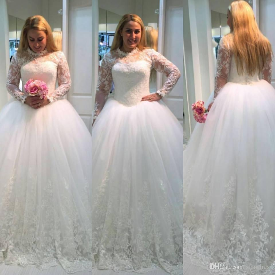 Cheap White Plus Size Lace Ball Gown Wedding Dresses High Neck Long Sleeve  Wedding Dress Bridal Gowns Vintage Bohemian Wedding Dress