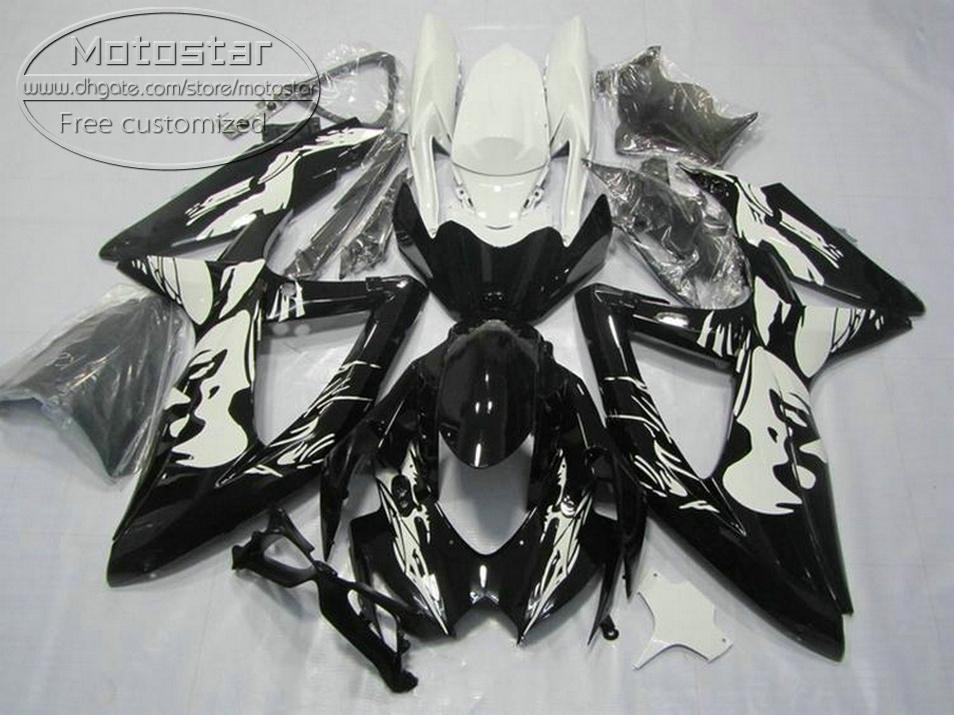 Kit completo de carenagem ABS para SUZUKI GSXR750 GSXR600 2008-2010 K8 K9 carenagem preto branco GSXR600 / 750 08 09 10 KS81