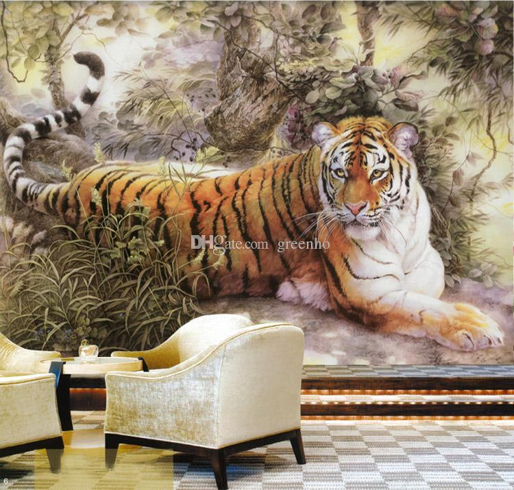 Chinese painting wall mural tiger photo wallpaper custom for Chinese mural wallpaper