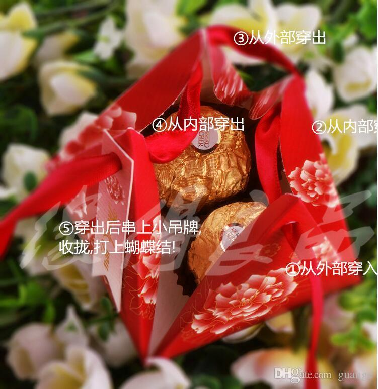Chinese red Pearl paper triangle pyramid Wedding box Candy Box gift boxs wedding favour boxes TH167