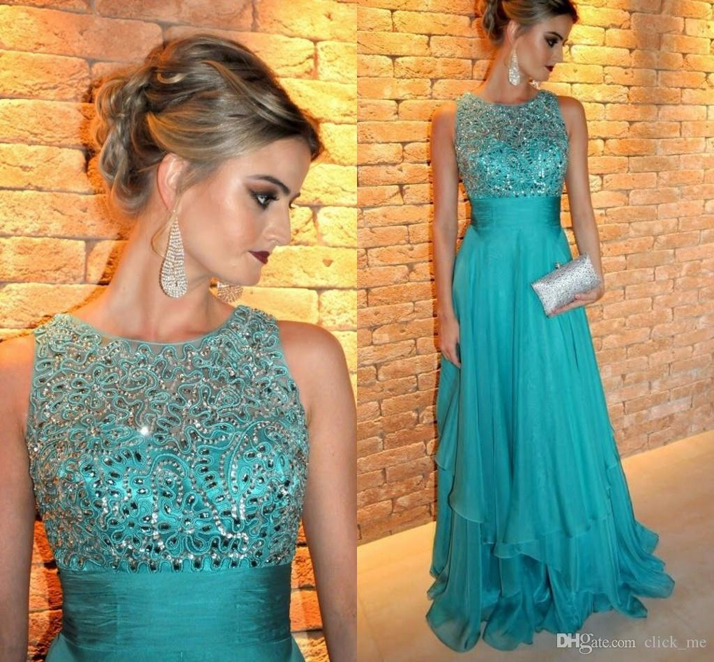 Dresses Party Evening Crew Beads Crystals Chiffon Cheap Evening ...