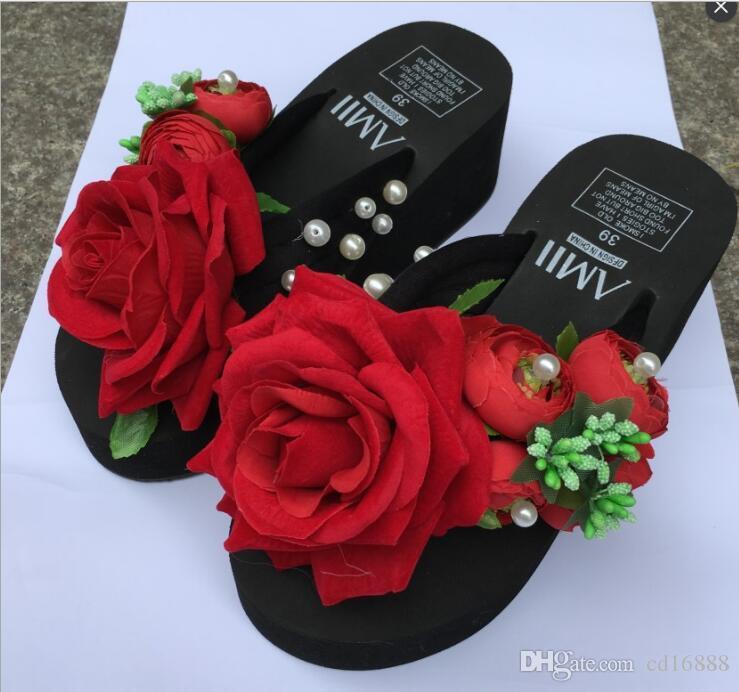 9cd8f0b9 Compre Elegantes Y Cómodas Sandalias De Verano Para Mujer Zapatillas 2019  Flores Originales Hechas A Mano Chanclas De Fondo Grueso Zapatos De Mujer  ...