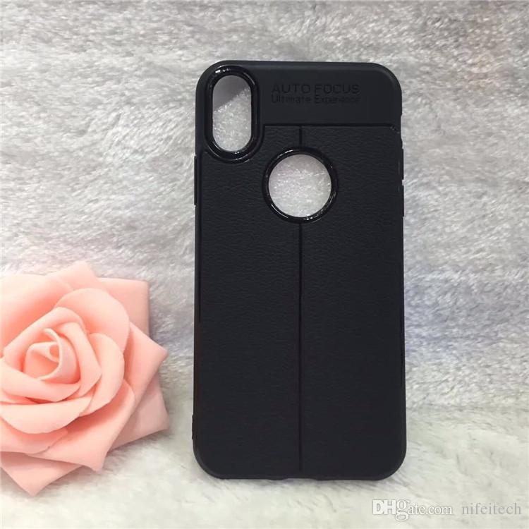 For iPhone X Litchi Leather Pattern Soft TPU Cover Case Auto Focus For iPhone 6 7 8 Plus Samsung S8 Plus Note 8 A5 A7 J2 J5 2017 2018