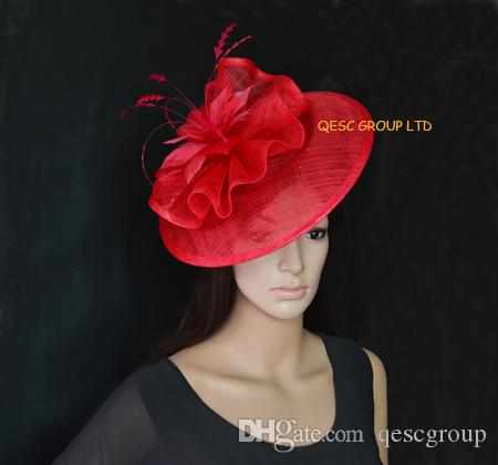 8b6a5e406368b Red Big Sinamay Fascinator with Feather Flower for Kentucky Derby ...