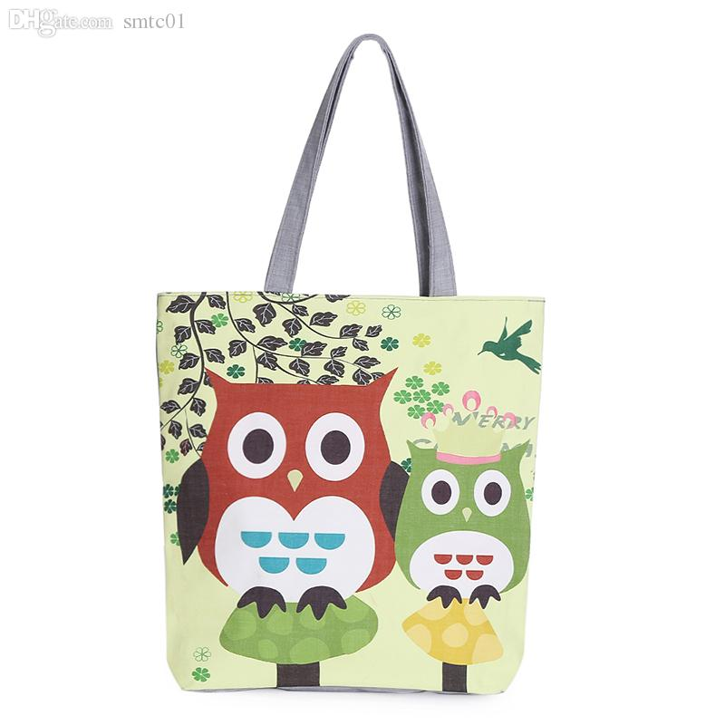 Wholesale Floral And Owl Printed Canvas Tote Female Casual Beach ...