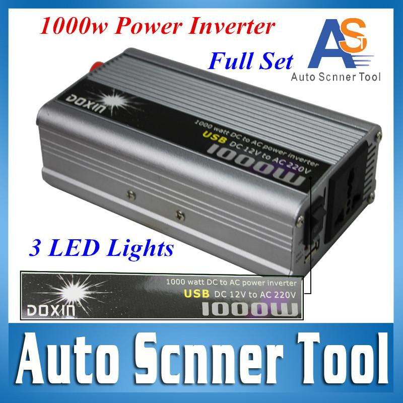 Wholesale- Lowest Price Car Power Inverter 1000W 12V 220V Power Converters  Modified Pure Sine Wave DC to AC Inverter With 3 Led Lights