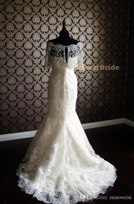 Abiti da sposa bianchi o avorio da sposa Giacche mezza manica da sposa in pizzo con perle di cristallo Abito da sposa Bolero