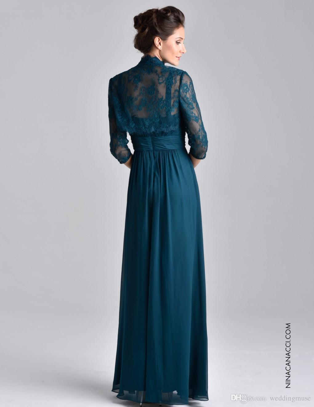 بالاضافة الى حجم البط البري الأزرق الأم الشيفون من ثوب العروس 3/4 كم طويل مع الدانتيل سترة كريستال مطرز الأم ثياب السهرة