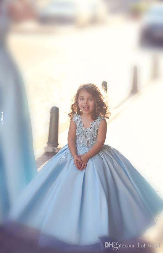 귀여운 현란 라이트 블루 A 라인 어린 소녀 어머니와 딸 드레스 소녀 미인 대회 드레스 친교 드레스 BA1763를 들어 꽃의 소녀 드레스를