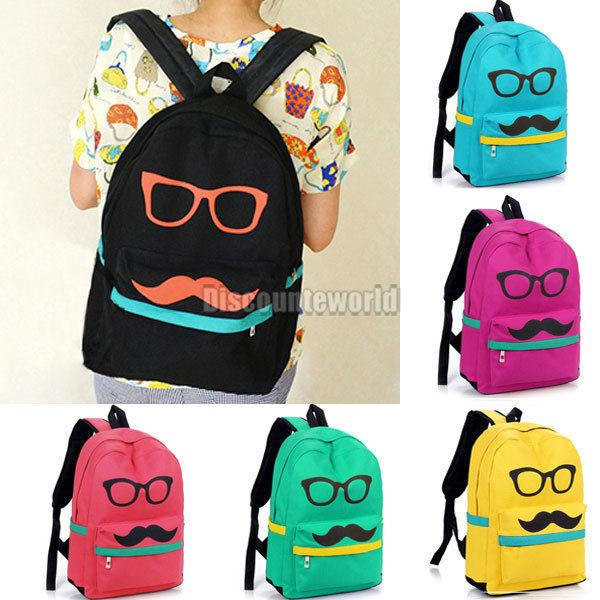 Hk Unisex Canvas Boys Girls Glasses Mustache Bags Backpack ...