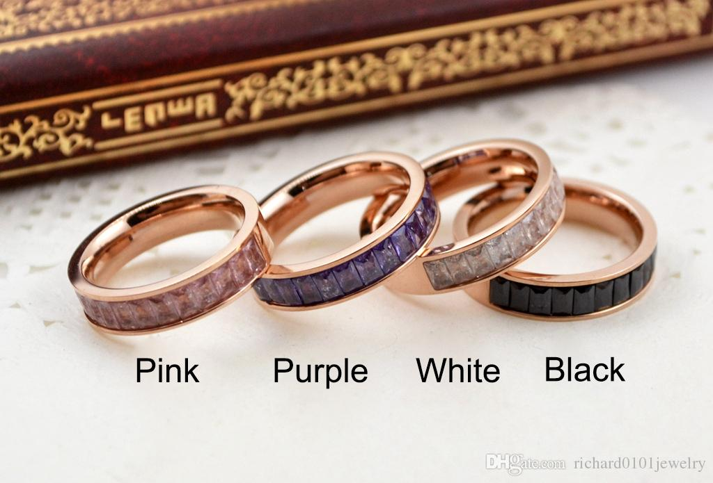 Hot sale diamond band rings Top Quality Titanium steel White Black Pink Purple Crystal rose gold rings for Women and Men fashion jewelry