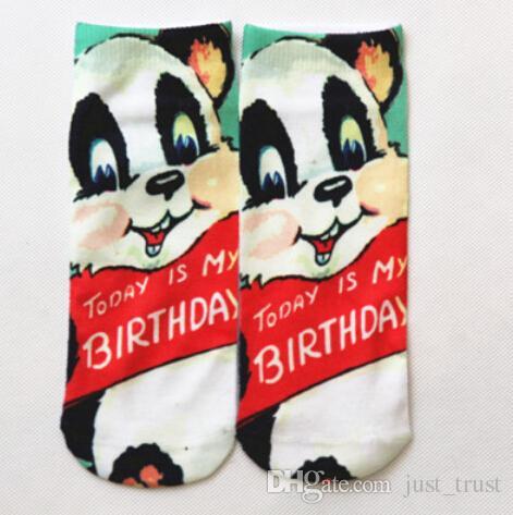 Unisex 3D Animal Tatoo cut Ankle Socks Fashion Graphic Dollar skull Pussy Cat Rabbits Printed Socks Hosiery