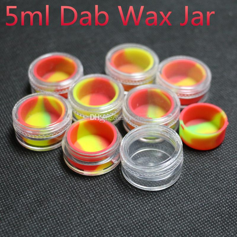 E-cig vaporizer dabber silicone containers for wax clear silicone container bho oil rigs waxy shatter extract plastic dab jars for ti nails