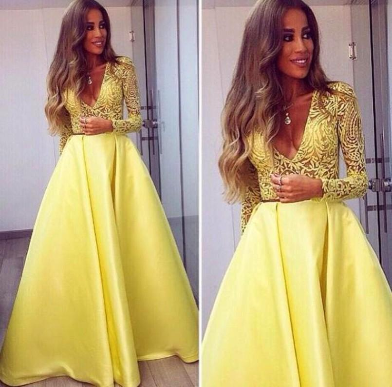2016 Muslim Long Sleeve Prom Dress Yellow V Neck Lace Top Satin ...