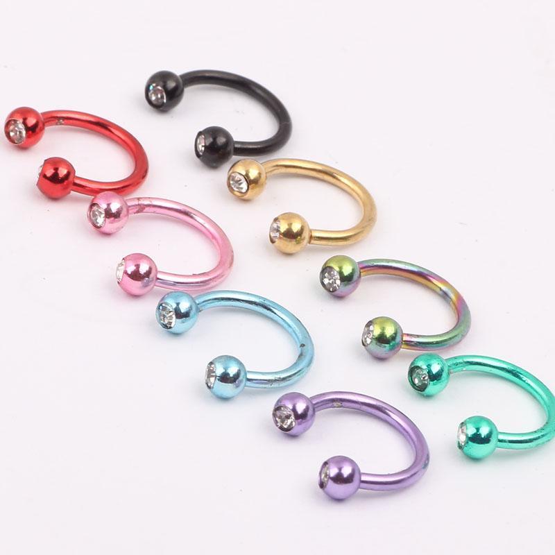Kaplama renkler burun damızlık N17 100 adet / grup vücut piercing takı paslanmaz çelik burun çember halka