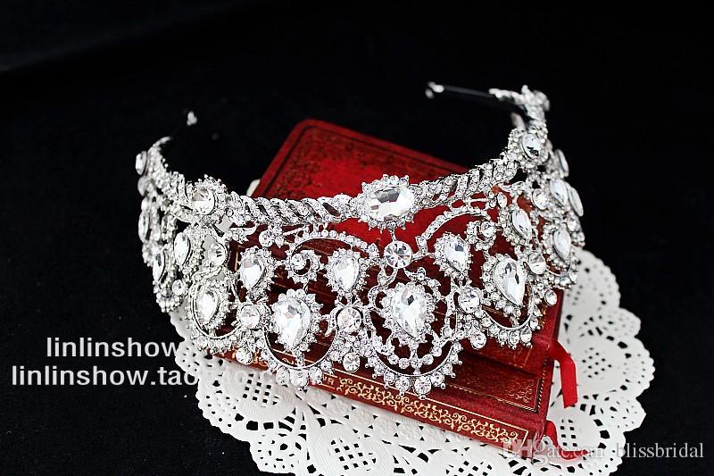 سندريلا الإمبراطورية الفاخرة الأميرة الكريستال حجر الراين الزفاف تاج الزفاف الحجاب لامعة مجوهرات الزفاف مجوهرات و اكسسوارات للشعر