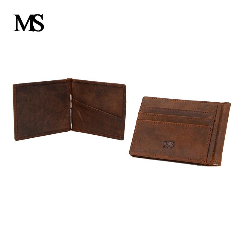 48faa567ff3a6 Ms New Thin Billfold Wallet Men Money Clips Real Leather 2 Folded Open  Clamp For Money Holder Credit Card Case Cash Clip Tw1665