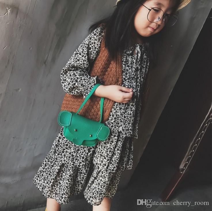 Yeni 2017 Kız Çanta Kore Fil Çantası Moda PU Karikatür çanta Çocuk Değişim Çantalar Modası Çocuklar Crossbody C2385