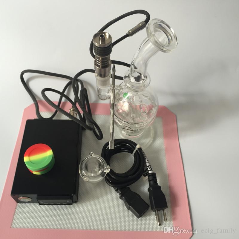물 담뱃대를위한 돔샤 전자 못 손톱 티타늄 네일 유리 봉 실리콘 매트와 오일 dab 난방 코일에 대한 네비게이션 장비