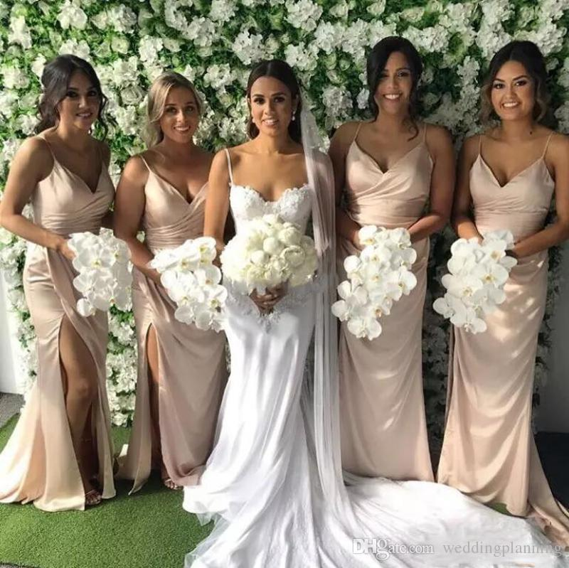 Allık Pembe Uzun Gelinlik Modelleri 2018 Spagetti Sapanlar Yan Bölünmüş Hizmetçi Onur Törenlerinde Mermaid Düğün Konuk Elbise Custom Made