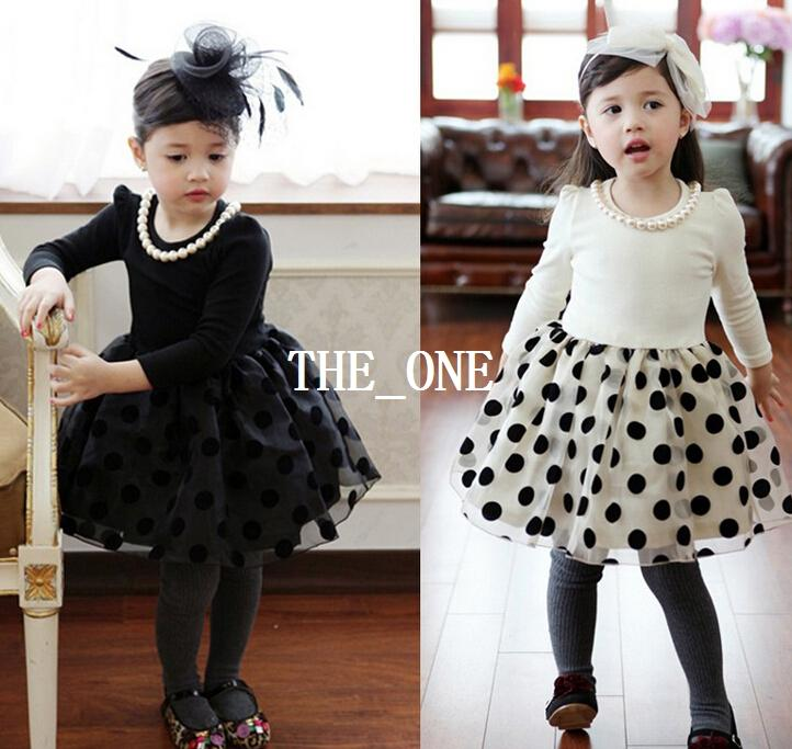 Fall Winter Lace Polka Dot Dress Baby Girls Party With Pearls Necklace Fleece Girl Princess Birthday