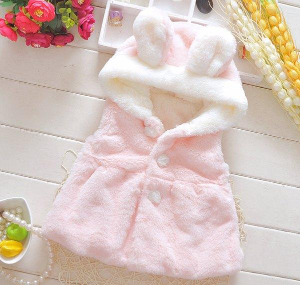 Baby Girls Winter Waistcoats Newborn Coral Fleece Coat Baby Animal ...