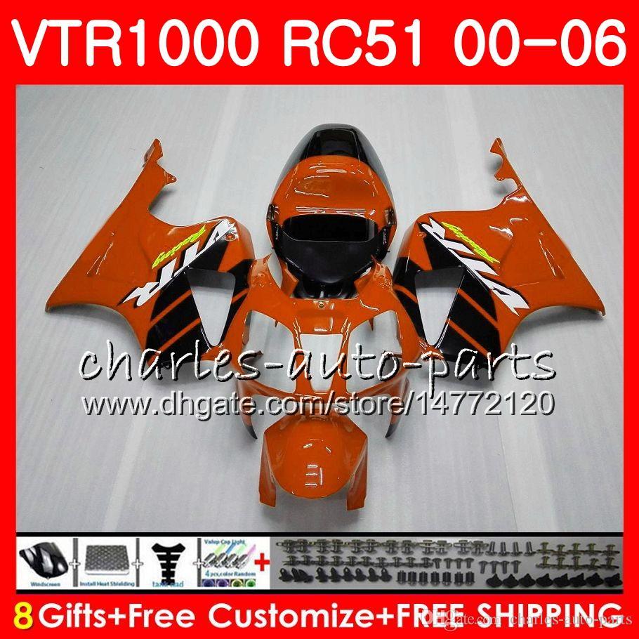 Corpo HONDA RTV1000 VTR Arancione nero 1000 00 01 02 03 04 05 06 92NO70 VTR1000 RC51 SP1 SP2 00 2000 2001 2002 2003 2004 2005 2006 Carena