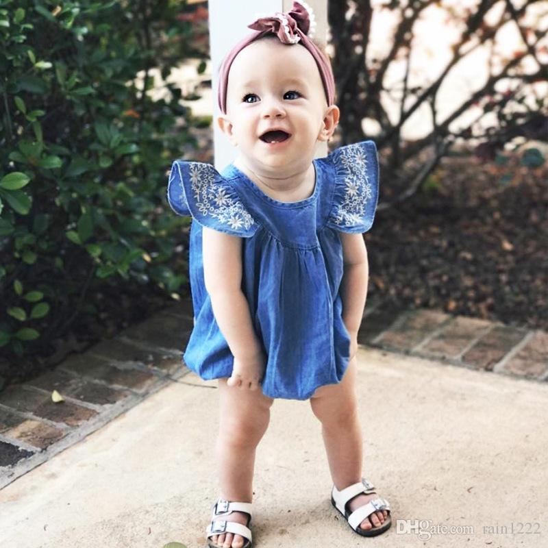 Baby Rompers Jeans Onesies Clothes Girls Embroider Ruffles Shoulder Denim One-piece Clothing Jumpsuits Toddlers Sleeveless Triangle Rompers
