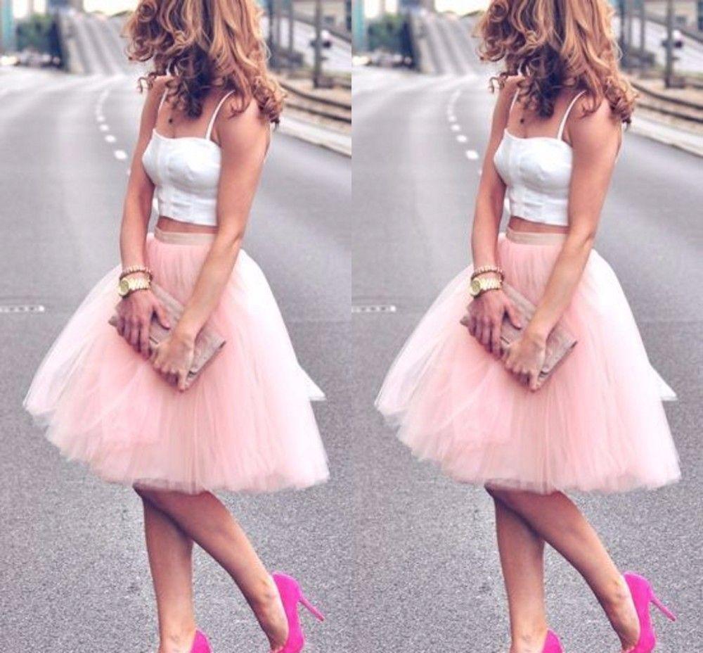 Großhandel 12 Sommer Knielänge Junge Damen Frauen Büste Röcke Adult Tutu  Tüll Rock Eine Linie Günstige Rock Kleider Party Abendkleider Kleid Von