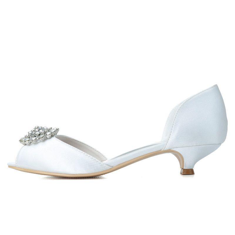 0700-03 2019 Chaussures De Mariée Sur Mesure Ouvert Peep Toe Taille 3.5cm Talon Bas Soirée De Bal Femmes Chaussures 2019 Nouveau